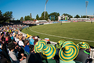 A crowd watching cricket at Manuka Oval
