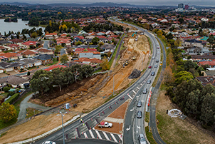 An aerial photo of Gundaroo Road in Canberra