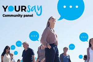 YourSay Community Panel logo and people with illustrated speech bubbles coming out of their mouths.
