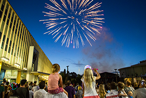 People watching fireworks in Canberra