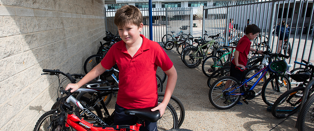 A Primary School student leaves his bike in a bike shed after riding to school.