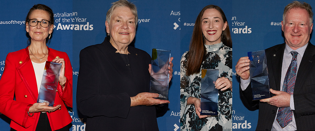 Virginia Haussegger AM, ACT Australian of the Year, Dr Sue Packer AM, ACT Senior Australian of the Year, Hannah Wandel , ACT Young Australian of the Year and David Williams, ACT Local Hero.