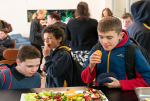Students eating at the Woden School cafe.