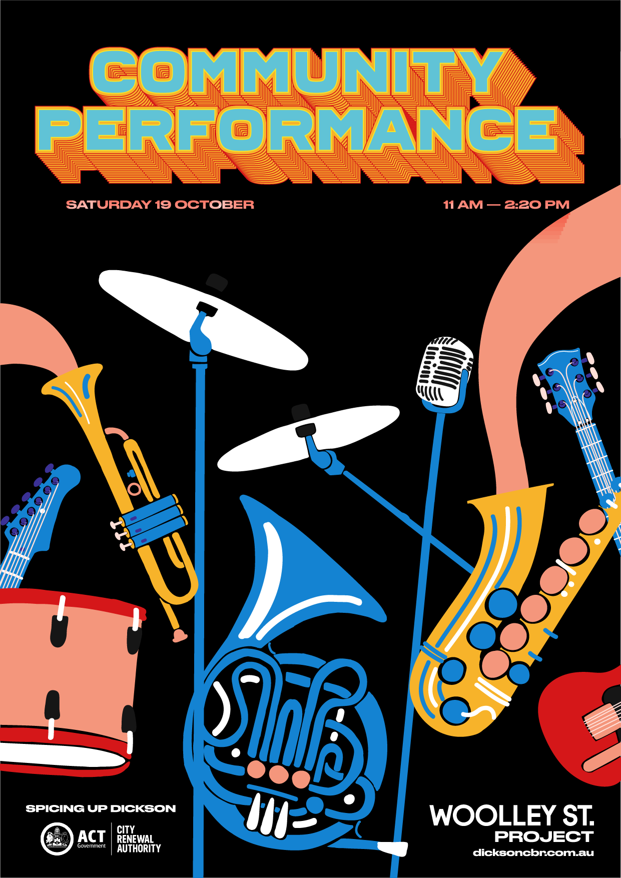 poster promoting dickson community performance