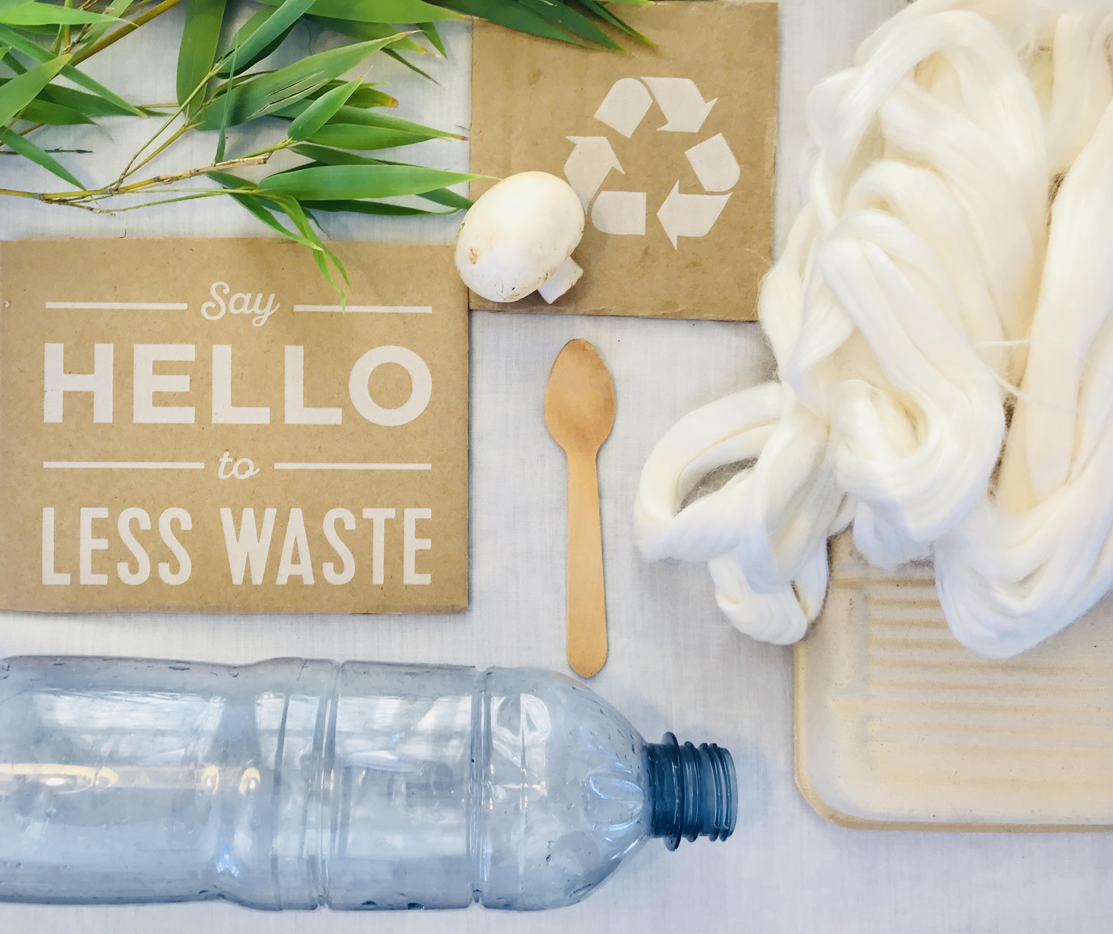 water bottle, spoon, mushroom, recycle sign, wool