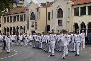 More than 300 sailors will march through the city.