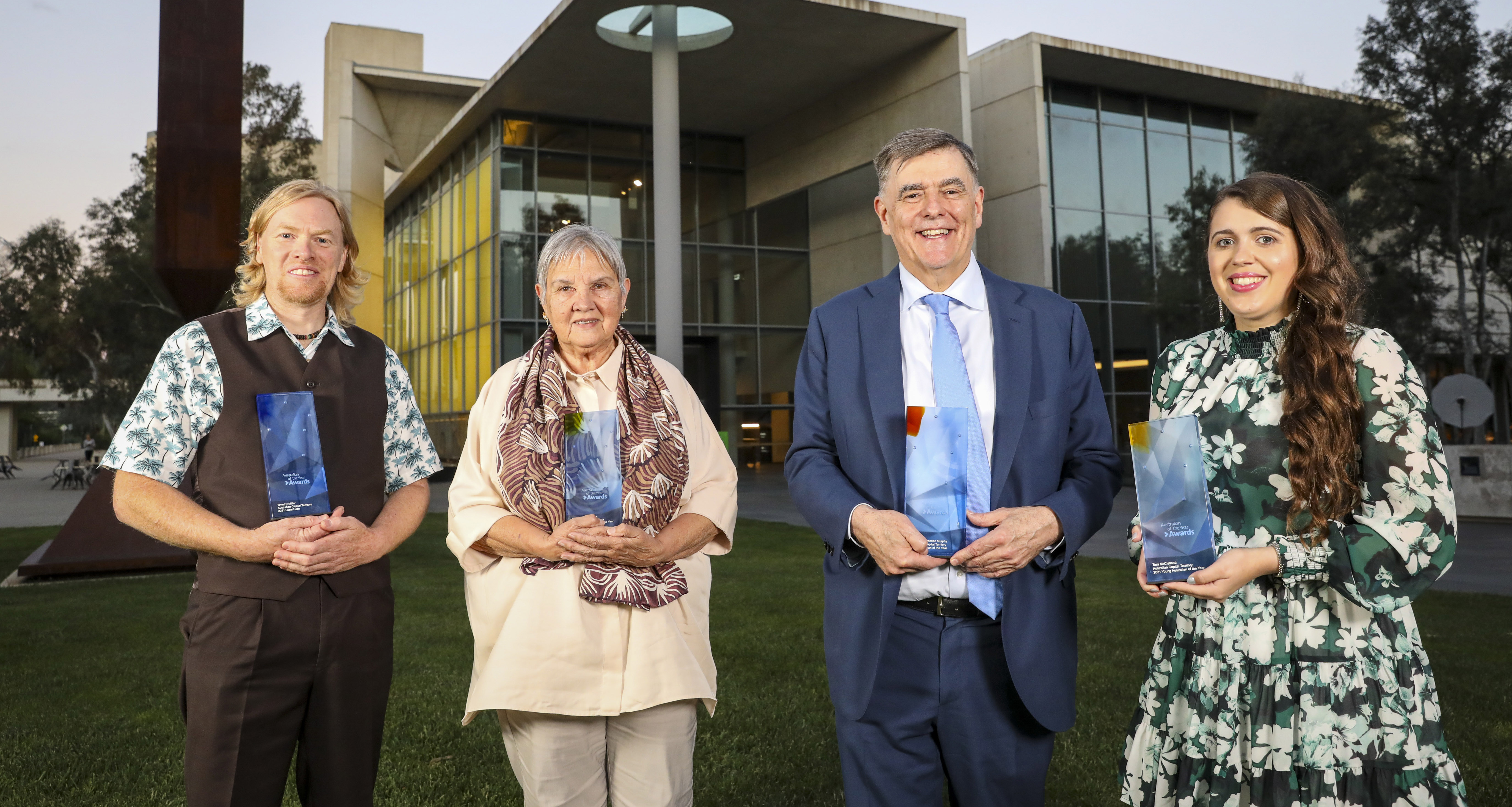 The four inspirational Canberrans – Timothy Miller, Patricia Anderson AO, Professor Brendan Murphy and Tara McClelland.
