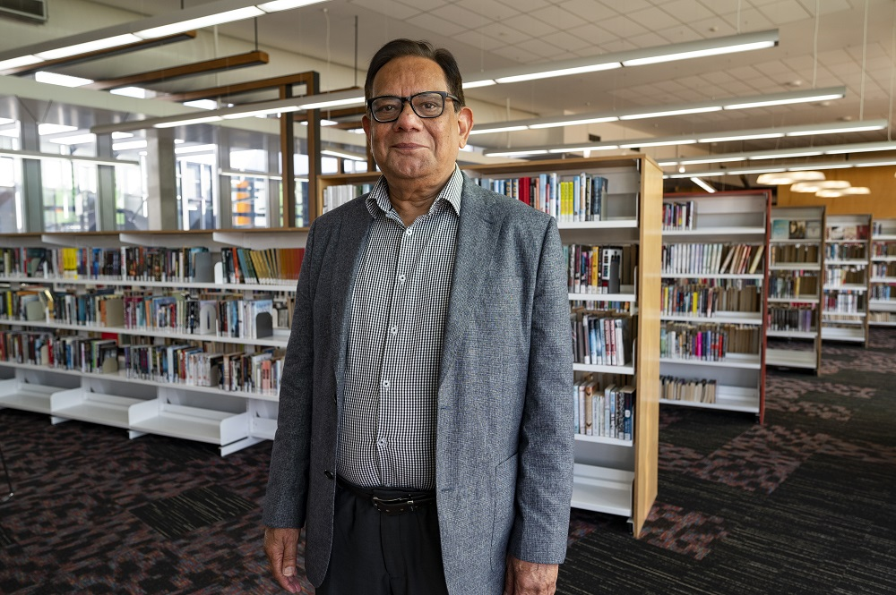 Man standing in the library