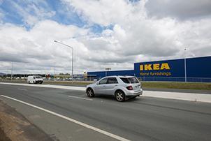 Traffic on road outside IKEA