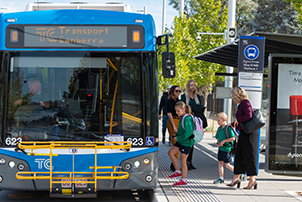 Canberran's using Public transport to move around the city.