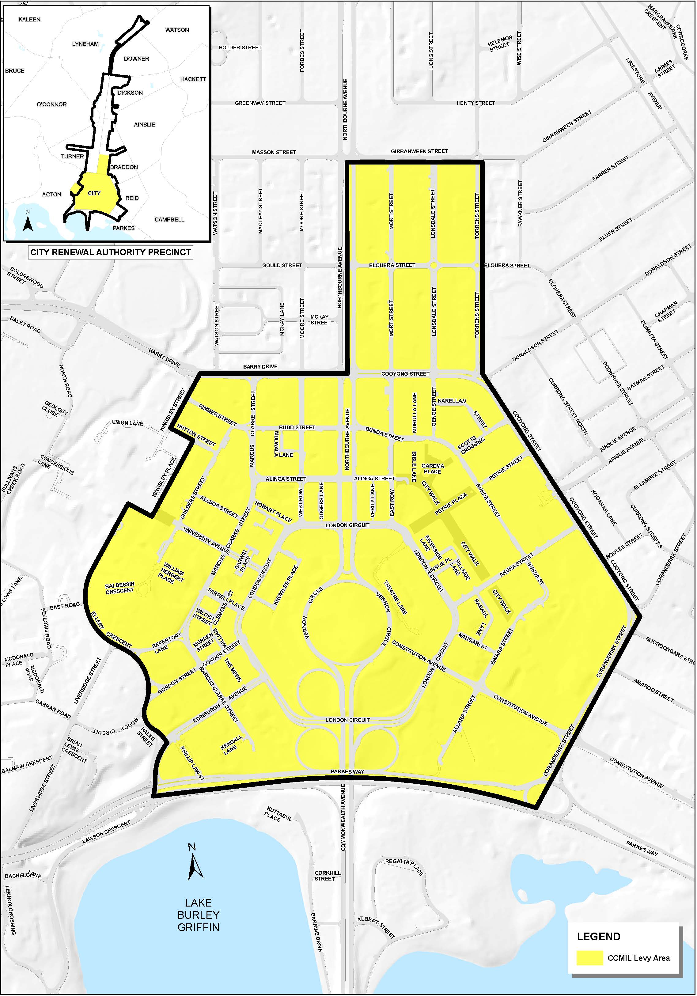 Map of the city centre marketing and improvements levy area