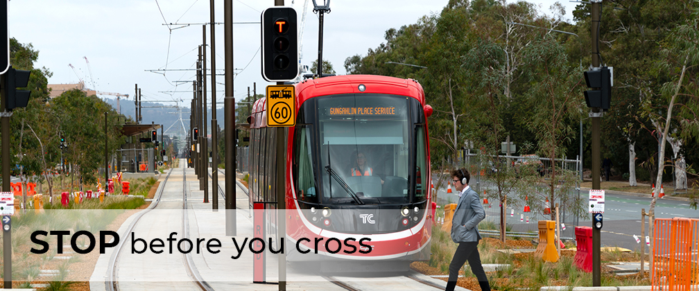 Stop, look and listen for light rail vehicles before crossing at designated crossings.