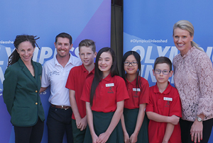 Olympians Beki Smith (far left) and Louise Dobson (far right) and Australian representative archer Astin Darcy (second from left) shared the Olympic spirit at Macquarie Primary as part of the Olympics Unleashed Program.