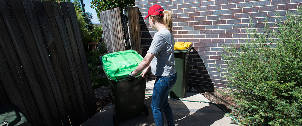 A woman moving her green bin so it can be collected.