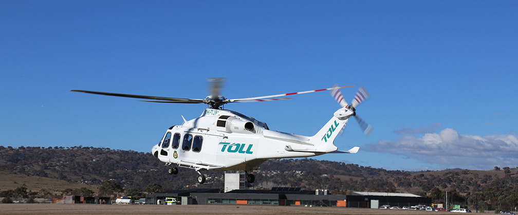 The Toll SouthCare Rescue Helicopter taking off.