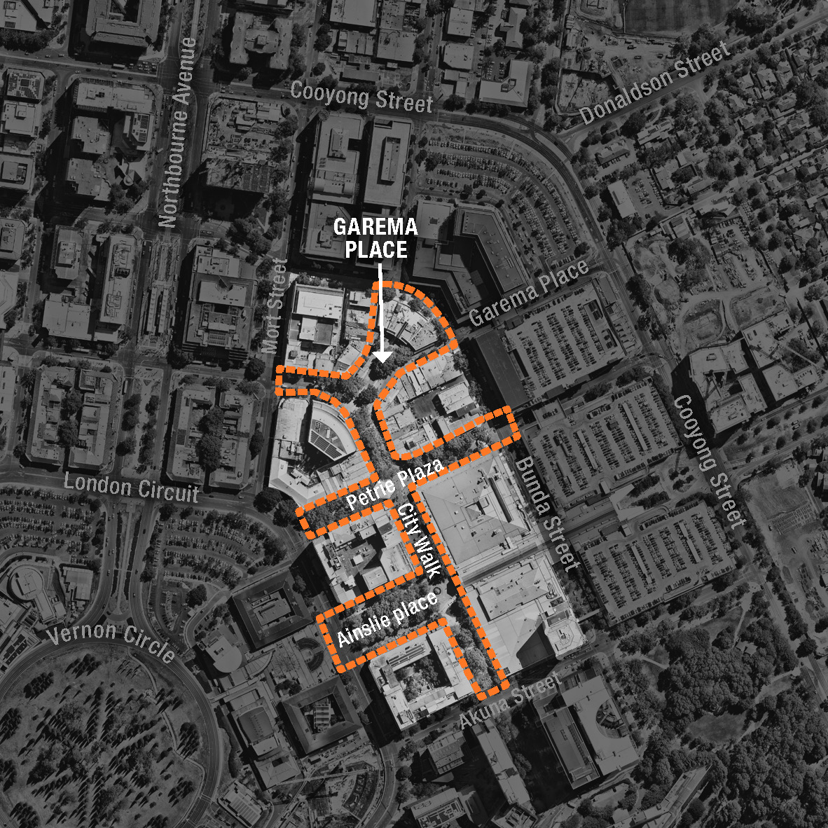 Map showing project precinct in context of surrounding streets