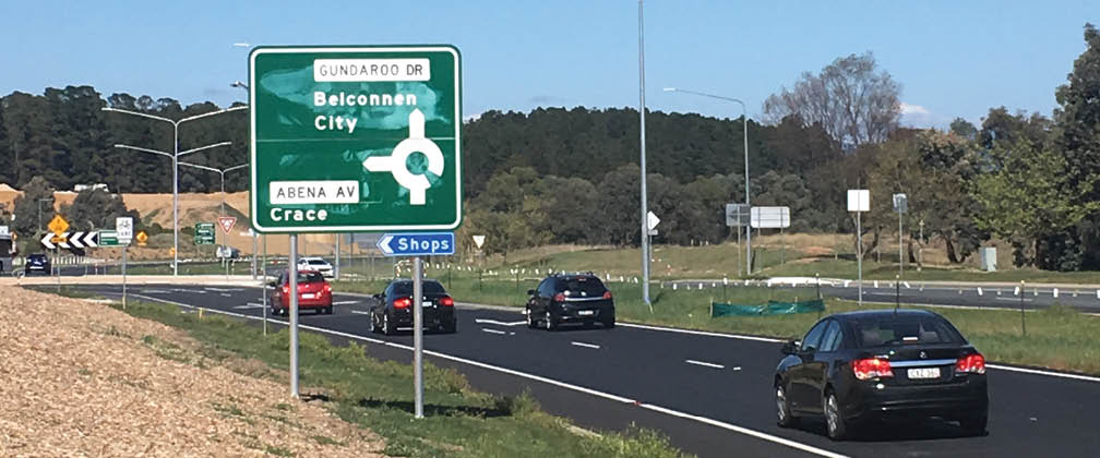 Stage 2 of the duplication of Gundaroo Drive between Gungahlin Drive and the Barton Highway is progressing.