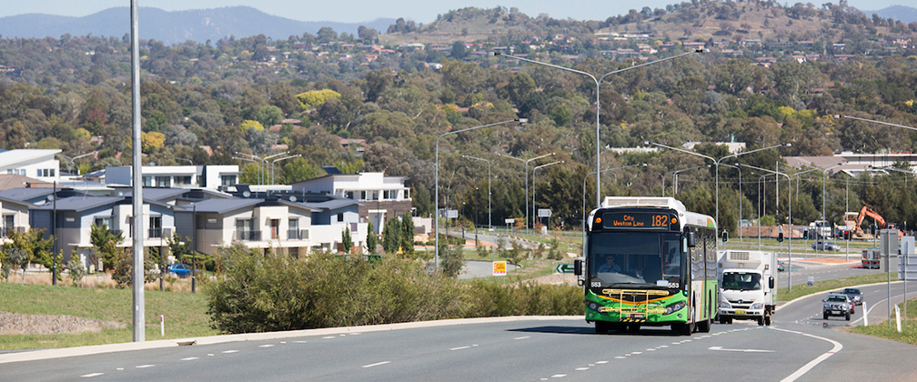 Bus travelling down Cotter Road
