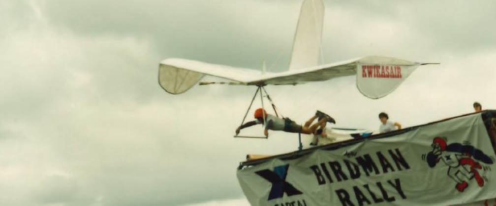 Competitor launching self-propelled aircraft from launch ramp.