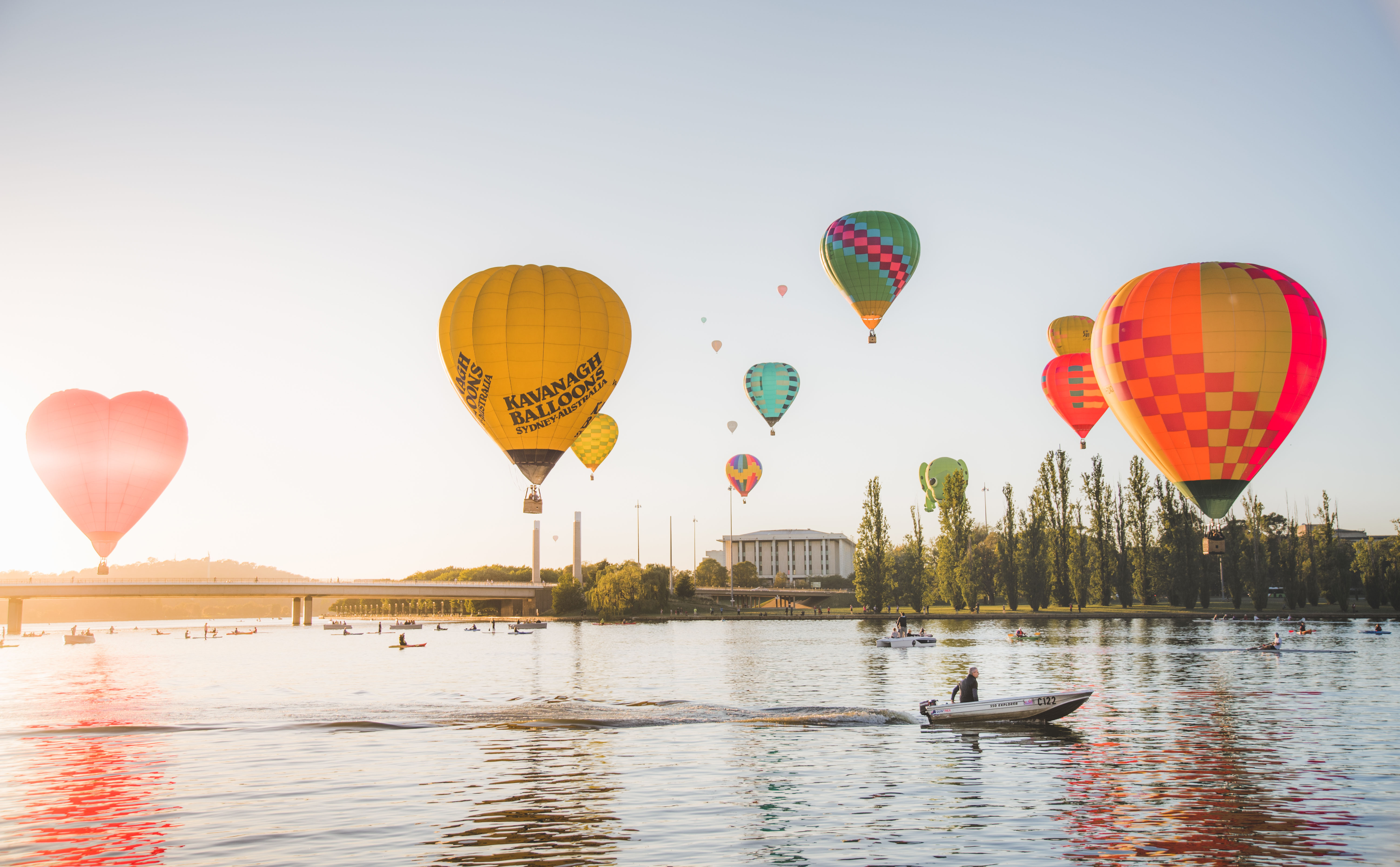 Hot air balloons above Lake Burley Griffin.