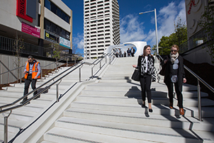People using the new steps at Woden Interchange