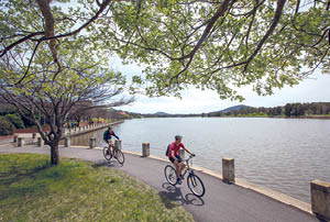 Cyclist at Lake Tuggeranong.