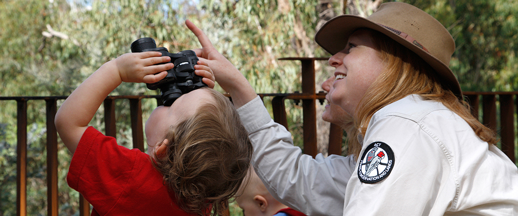 A Ranger pointing out wildlife in the trees at Tidbinbilla.