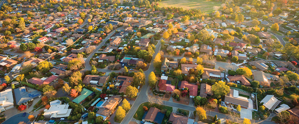 Birds eye view of houses