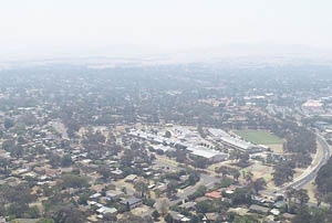 Aerial view of Canberra with some smoke haze