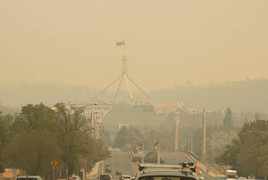 View of Parliament House in smoke haze.