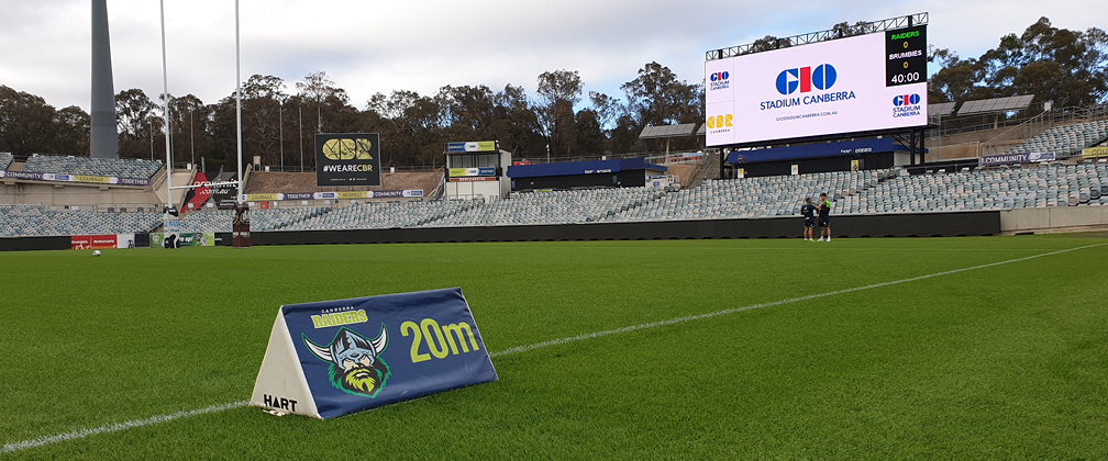 The new video screen has been unveiled ahead of a blockbuster weekend at GIO Stadium.