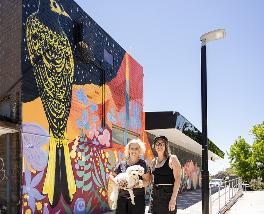 The Scullin Community Group co-founder Sue White, and committee member Emily Brindley in front of the new mural.