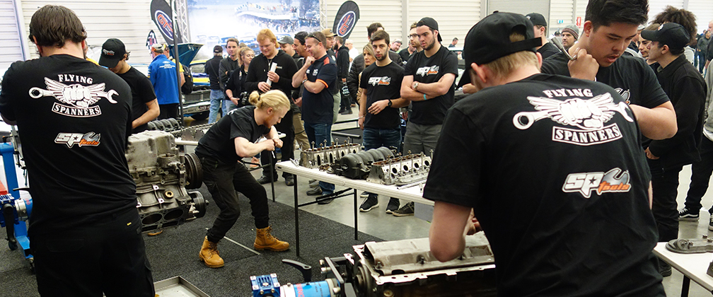 CIT automotive apprentices in action at the 2019 MotorEx Flying Spanners competition.