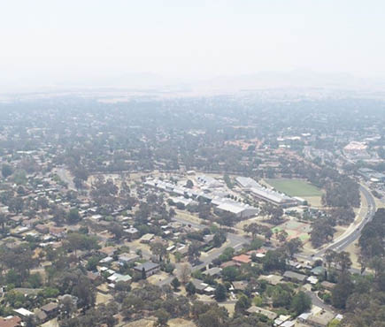 Aerial view of Canberra with smoke haze