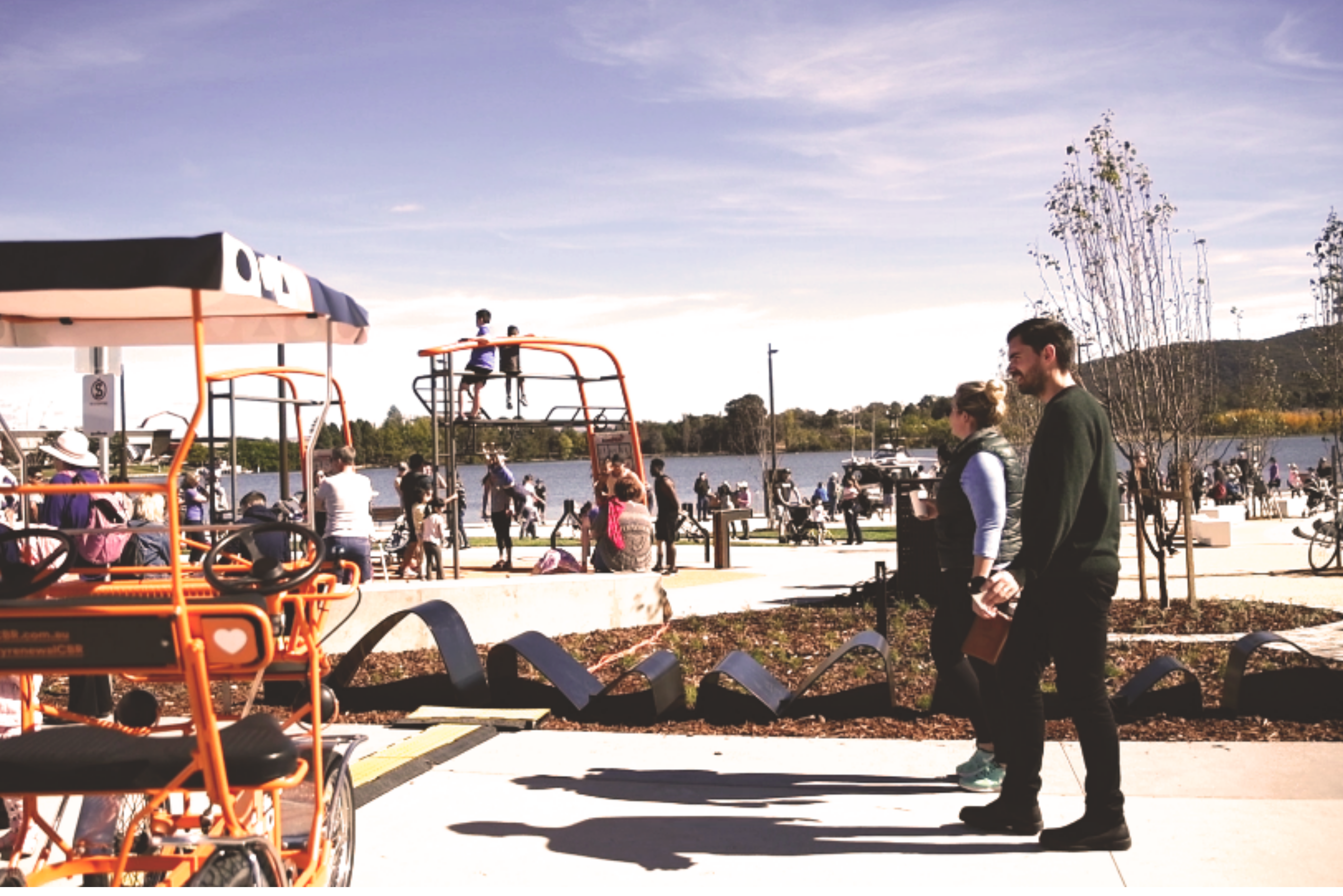 Henry Rolland Park opening, crowds walking, talking and playing