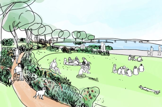 artistic impression of waterfront