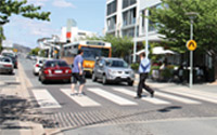 Shared traffic zone including pedestrians and bus