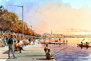 Artist impression of the West Basin Boardwalk