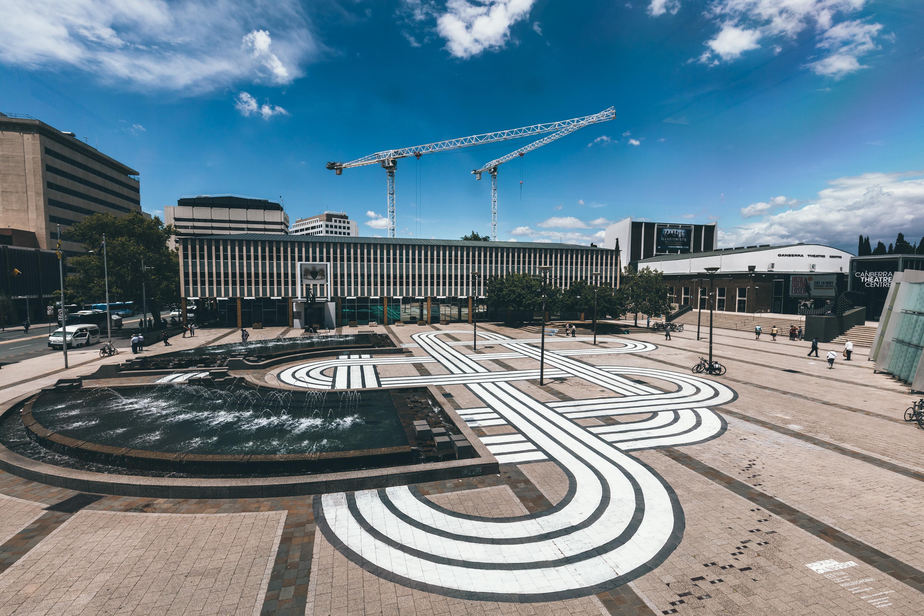 marilou chagnaud graphic in civic square, aerial image