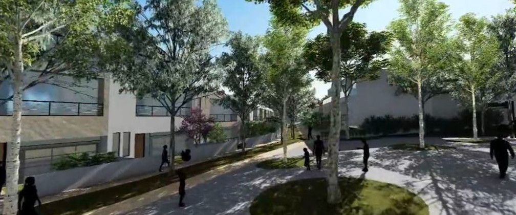 Artist concept of people walking through precinct courtyard
