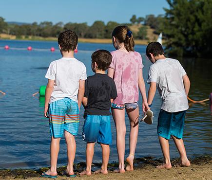 Children preparing to go swimming