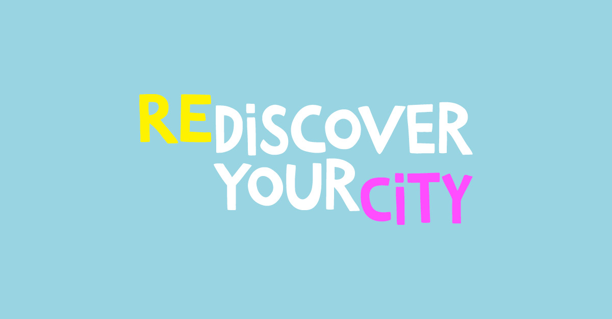 Heart and Soul poster, rediscover your city. Blue background, colourful text