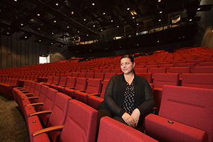 Woman on new seating at Canberra Theatre