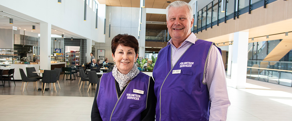 Michael and Cheryl McNamara who are volunteers at the University  of Canberra Hospital.