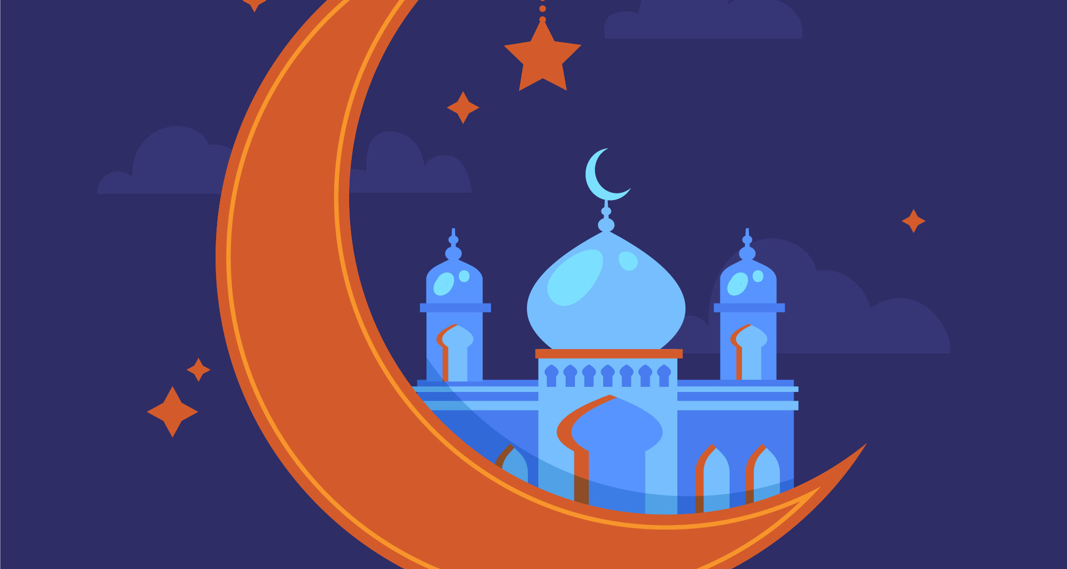 Graphic of the Islamic star and crescent moon